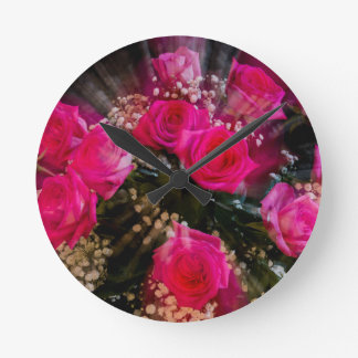 Pink Roses Bouquet Explosion Round Clock