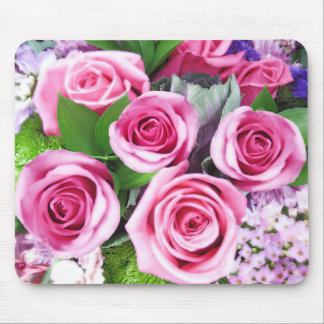 Pink Roses Bouquet - Mouse Pad