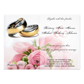 Pink Roses Bouquet with Rings Wedding Invitation