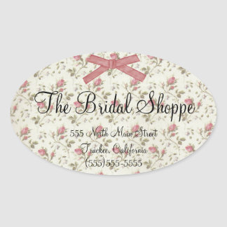 Pink Roses & Bow Business Logo Wedding Oval Sticker