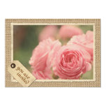 Pink Roses Burlap Vintage Paper Frame Travel Tag