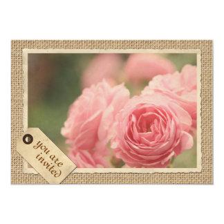 Pink Roses Burlap Vintage Paper Frame Travel Tag Card