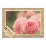 "Pink Roses Burlap Vintage Paper Frame Travel Tag 5"" X 7"" Invitation Card"