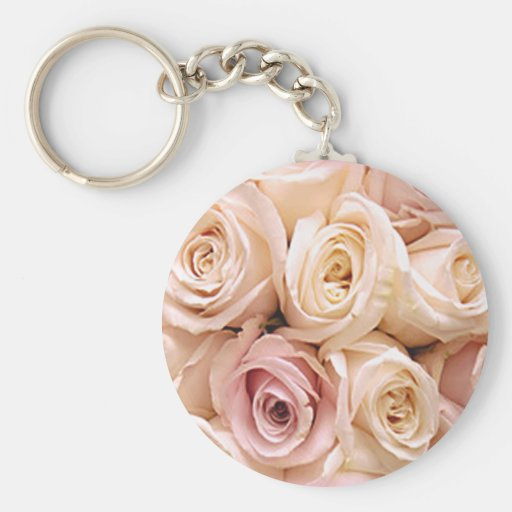 PINK ROSES by SHARON SHARPE Keychain
