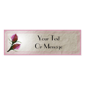 Pink Roses Card Template Double-Sided Mini Business Cards (Pack Of 20)