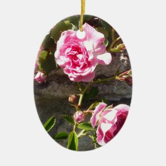 Pink Roses Ceramic Ornament