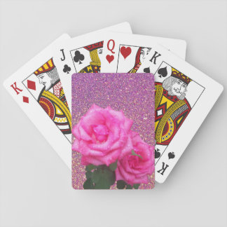 Pink Roses Classic Poker Playing Cards