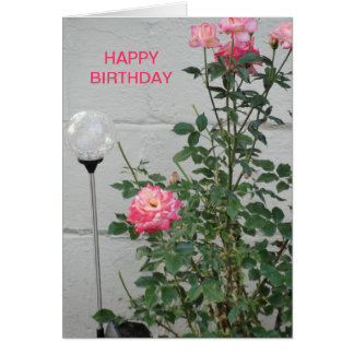 Pink Roses & Clear Gazing Ball, Birthday Card