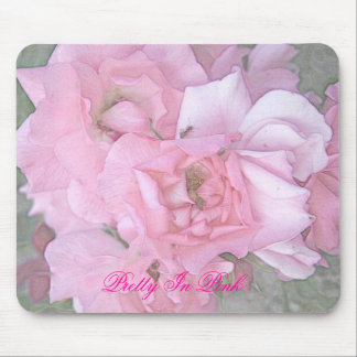 Pink Roses Color Pencil Poster, Pretty In Pink Mouse Mat
