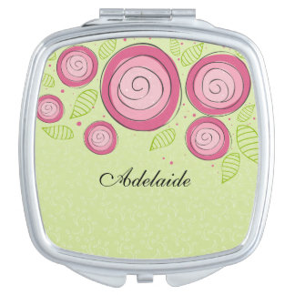 Pink Roses Compact Mirror