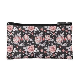 Pink roses cosmetic bags