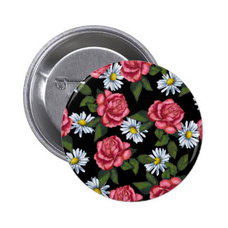 Pink Roses, Daisies: Art on Black Background 2 Inch Round Button