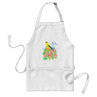 Pink Roses Eastern Goldfinch State Bird of Iowa Standard Apron