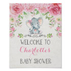Pink Roses Elephant Baby Shower Welcome Sign