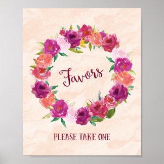 Pink Roses Favors Wedding Poster Print