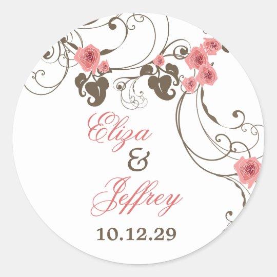 Pink Roses Fleur Floral Elegant Wedding Sticker