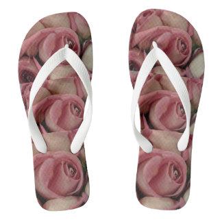 Pink roses flip flops