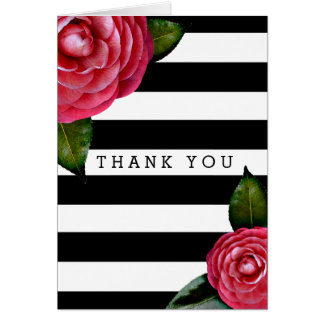 Pink Roses Floral Black + White Stripe Thank You Card