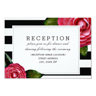 "Pink Roses Floral Black + White Wedding Reception 3.5"" X 5"" Invitation Card"