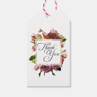 Pink Roses Floral Bouquet Thank You Gift Tags