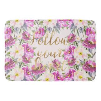 Pink Roses Floral Gold Follow Your Heart Bath Mat