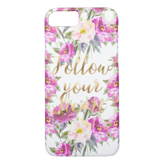 Pink Roses Floral Gold Follow Your Heart iPhone 8/7 Case
