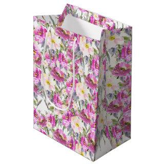 Pink Roses Floral Medium Gift Bag