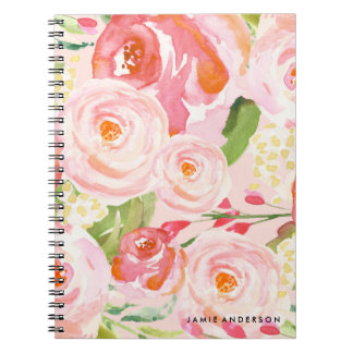 Pink Roses Floral Notebook