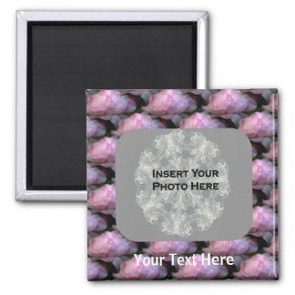 Pink Roses Floral Photo Magnet