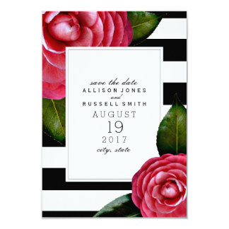 """Pink Roses Floral + Striped Save The Date 3.5"""" X 5"""" Invitation Card"""