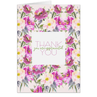 Pink Roses Floral Thank You Card