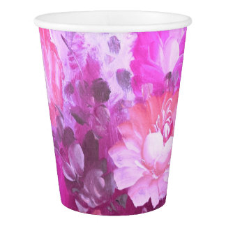 Pink Roses Flowers Retro Watercolor Art Paper Cup