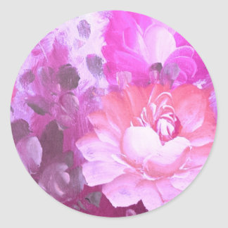 Pink Roses Flowers Vintage Art Glossy Stickers