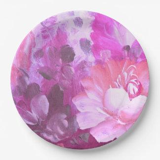 Pink Roses Flowers Vintage Watercolor Art Plates