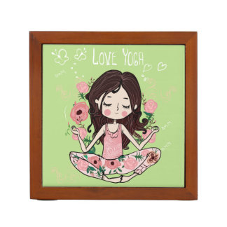 Pink Roses Girl Loves Yoga Desk Organizer