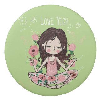 Pink Roses Girl Loves Yoga Eraser