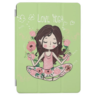 Pink Roses Girl Loves Yoga iPad Air Cover