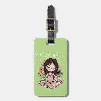 Pink Roses Girl Loves Yoga Luggage Tag