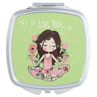 Pink Roses Girl Loves Yoga Makeup Mirrors