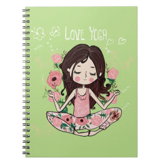 Pink Roses Girl Loves Yoga Notebook