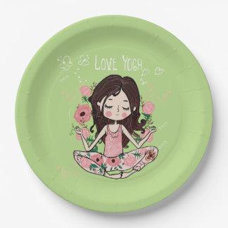 Pink Roses Girl Loves Yoga Paper Plate
