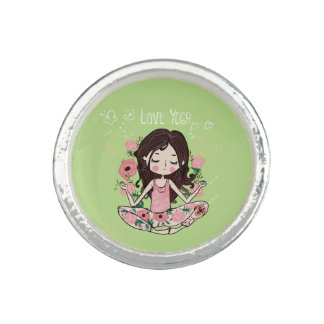 Pink Roses Girl Loves Yoga Ring