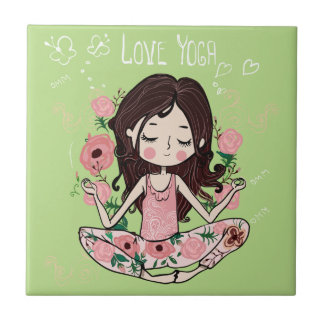 Pink Roses Girl Loves Yoga Tile