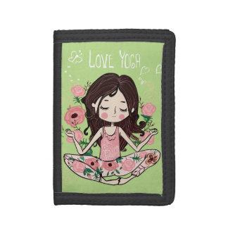 Pink Roses Girl Loves Yoga Tri-fold Wallets