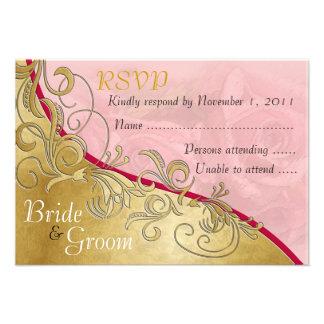Pink Roses Gold - Bride Groom RSVP Card