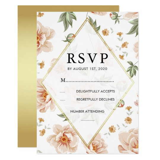 Pink Roses & Gold | Elegant Floral Wedding RSVP Card
