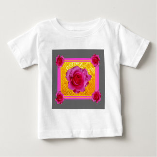 Pink Roses Gold Grey Pattern Gifts Baby T-Shirt