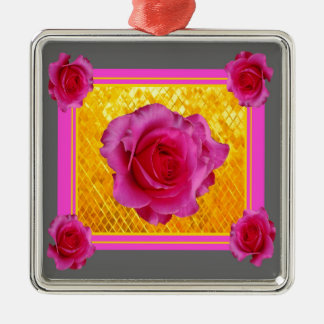 Pink Roses Gold Grey Pattern Gifts Silver-Colored Square Ornament
