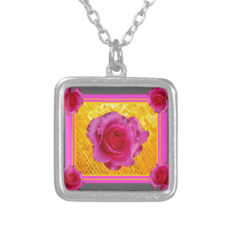 Pink Roses Gold Grey Pattern Gifts Silver Plated Necklace