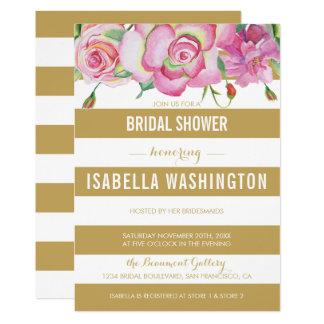 Pink Roses & Gold White Stripes Bridal Shower Card